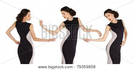 Sexy young woman in long evening dress, isolated on white