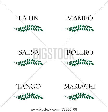 Green Laurel Latin Music Genres: Mambo, Salsa, Bolero, Tango and Mariachi