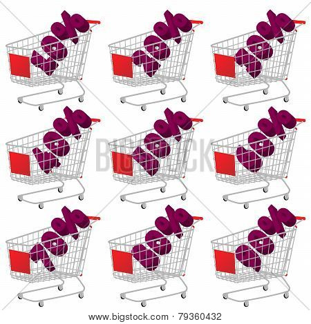 Red 3D Shopping Cart With Discount Texts