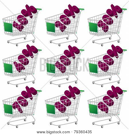 Green 3D Shopping Cart With Discount Texts
