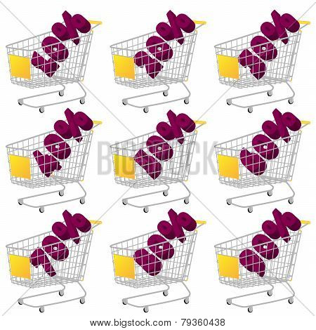 Yellow 3D Shopping Cart With Discount Texts