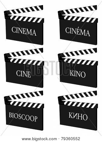 Cinema Clapperboards In Different Languages