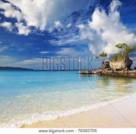 Tropical beach, Willy's rock, Boracay island, Philippines