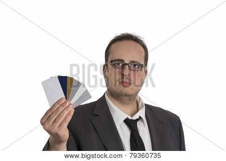 Man In Suit With Credit Cards