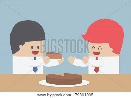 Businessman Give A Piece Of Cake To Another, Market Share Concept