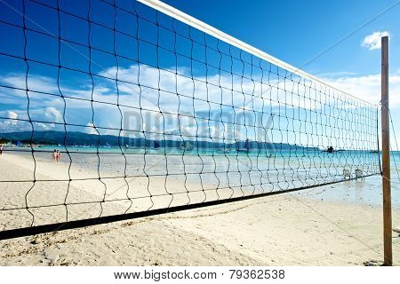 Beach With Volleyball Net In Boracay