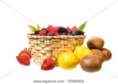 Mix Fruit And Berries Isolated