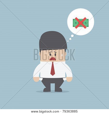 Businessman Showing His Empty Pocket, Financial Concept