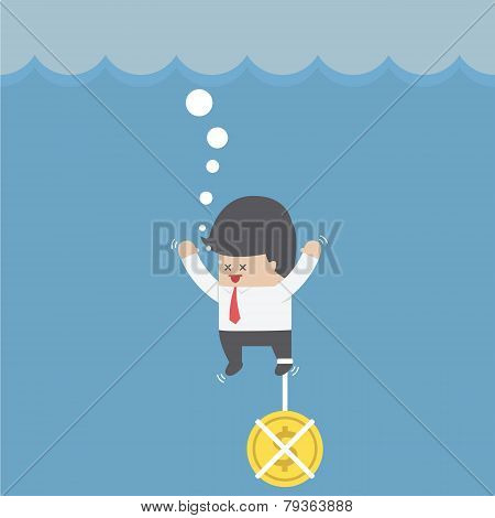 Drowning Businessman With Dollar Coin Chain On His Leg