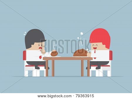 Two Businessmen Sitting At Dinning Table With Big And Small Piece Of Chicken, Market Share Concept
