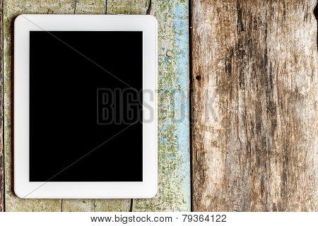 Digital Tablet Pc On Wooden Background
