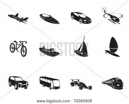 Silhouette different kind of transportation and travel icons