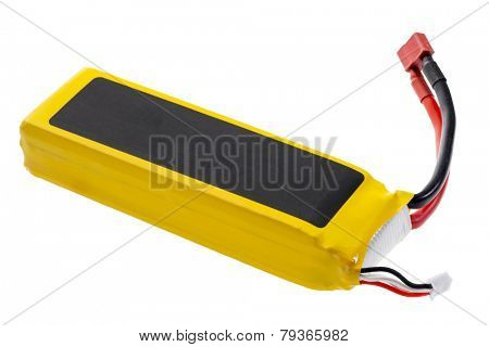 Lithium-ion polymer rechargeable battery (abbreviated as LiPo, LIP, Li-poly) with balancing and main power plugs. LiPo batteries are used in portable electronics, drones and radio controlled models.