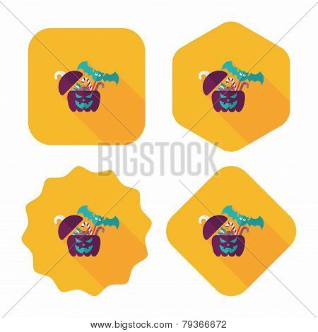 Halloween Pumpkin Shaped Box With Candies Flat Icon With Long Shadow, Eps10