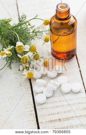 Concept Homeopathy. Bottle With Medicines, Pills, Herb.