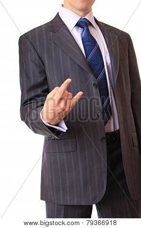 A businessman shows a gesture.