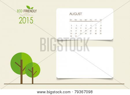 2015 calendar, monthly calendar template for August. Vector illustration.