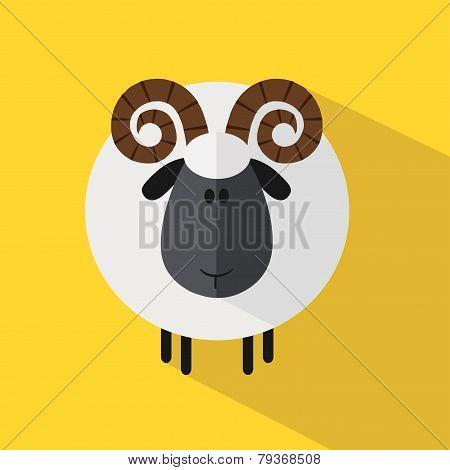 Cute Ram Sheep. Modern Flat Design