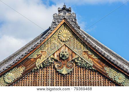 Pediment of Ninomaru Palace at Nijo Castle in Kyoto