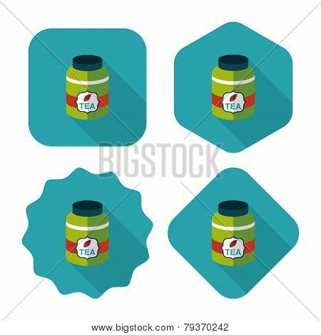 Tea Canister Flat Icon With Long Shadow,eps10