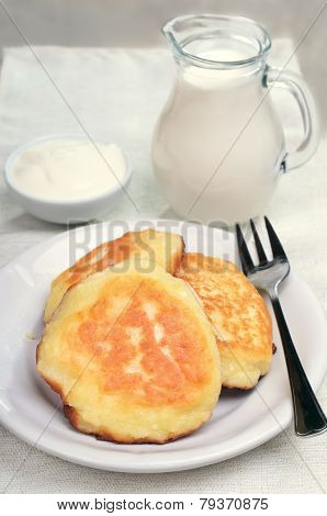 Fritters, Milk Jug And Sour Cream