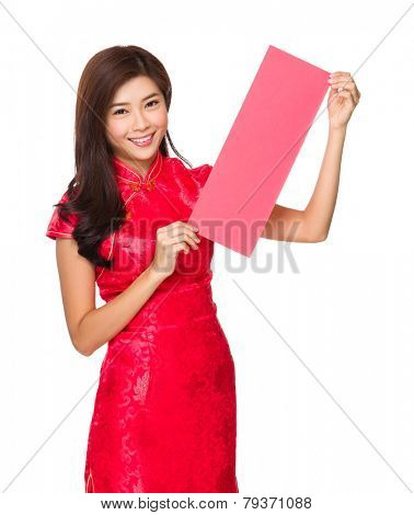 Chinese woman hold with red poster for calligraphy
