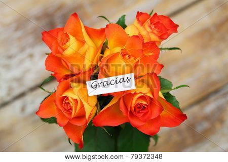 Gracias (which means thank you in Spanish) card with orange roses