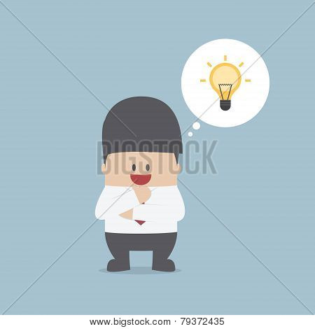 Businessman Thinking And Have A Great Idea