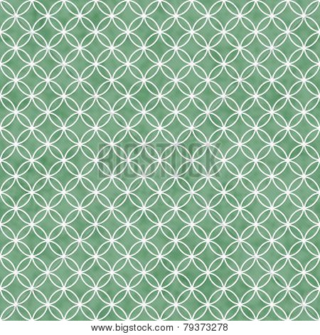 Green And White Interlocking Circles Tiles Pattern Repeat Background