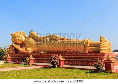 Image Of Reclining Golden Buddha.