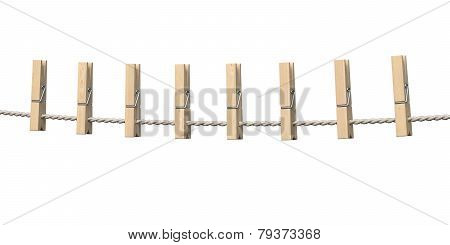 Clothespins On Rope Isolated On White Background