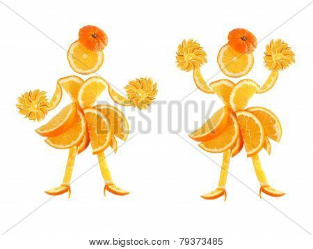 Healthy Eating. Two Funny Little Women Made Of The Orange Slices.