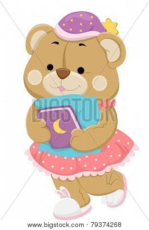 Illustration of a Teddy Bear in Sleepwear Preparing to Go to Sleep