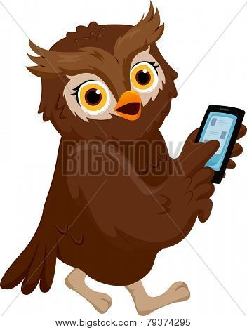 Illustration of an Owl Pointing to His Smartphone