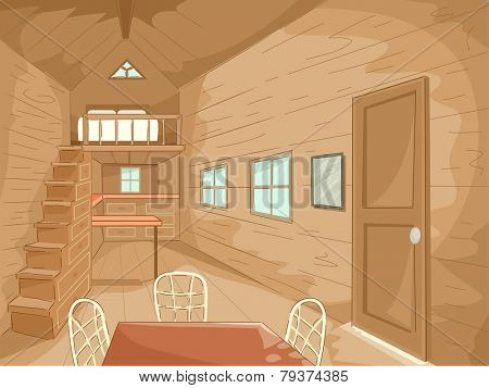 Illustration of the Interior of a Tiny House Complete With Matching Furniture