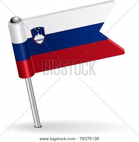 Slovenian pin icon flag. Vector illustration