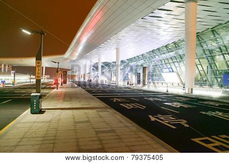 SHENZHEN - APRIL 16: airport terminal on April 16, 2014 in Shenzhen, China. Shenzhen Bao'an International Airport is located near Huangtian and Fuyong villages in Bao'an District, Shenzhen, Guangdong