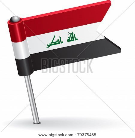 Iraqi pin icon flag. Vector illustration