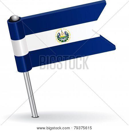El Salvador pin icon flag. Vector illustration