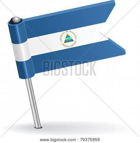 Nicaraguan pin icon flag. Vector illustration