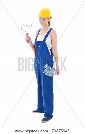 Woman Painter In Blue Coveralls Isolated On White