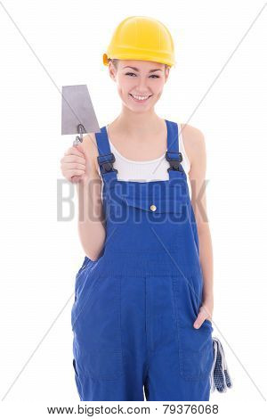 Young Beautiful Woman Builder In Blue Coveralls With Trowel Isolated On White