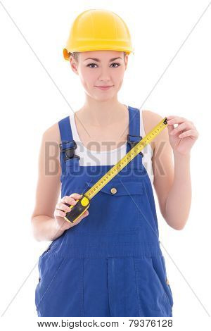 Woman Builder In Blue Coveralls Holding Measure Tape Isolated On White