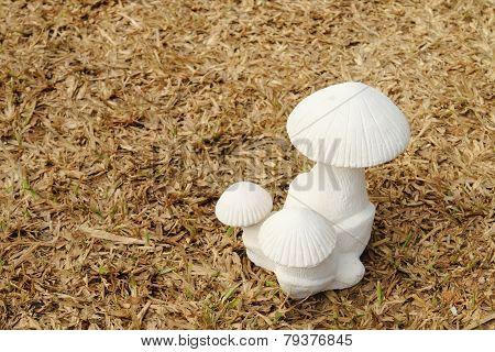 Mushroom Sculpture On Dry Turf