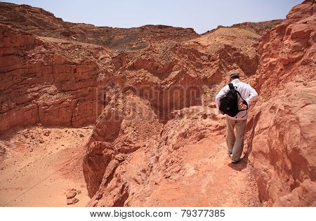Tourist in the Colored Canyon.