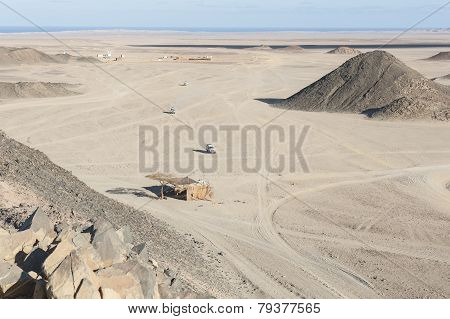 Rocky Desert Landscape With Mountains