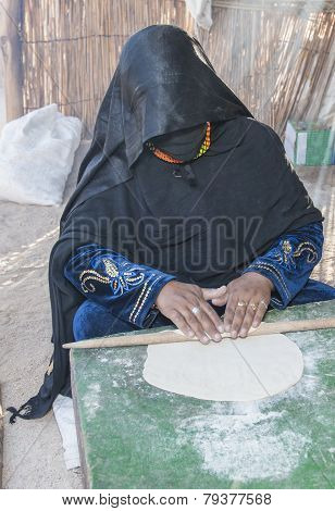 Bedouin Woman Making Traditional Bread