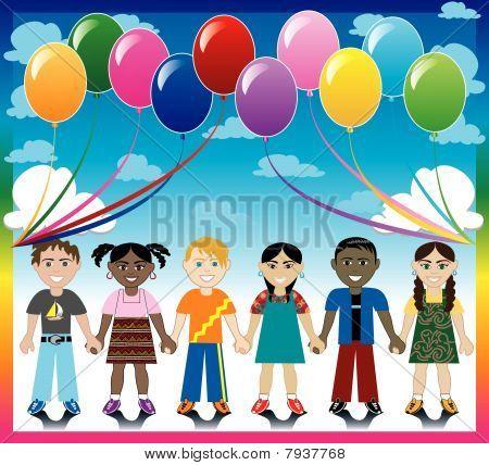 Ballon-Hintergrund mit Kindern