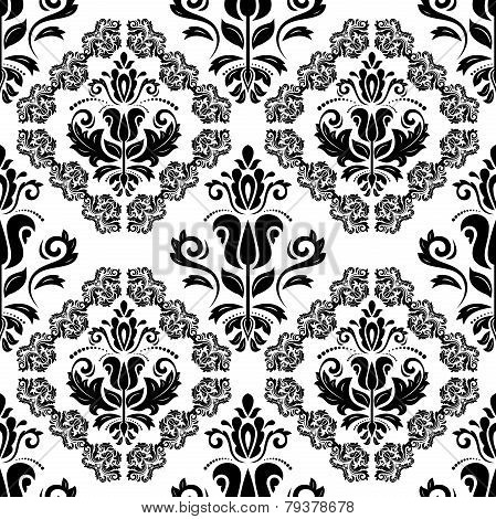Damask Seamless Vector Pattern. Black and White Colors