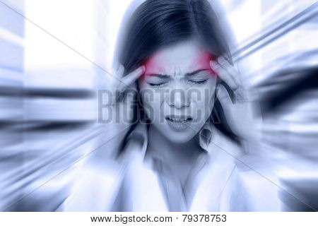 Headache migraine people - Doctor woman stressed. Woman Nurse / doctor with migraine headache overwo